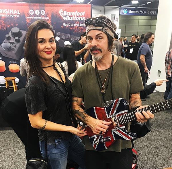 Richie Kotzen & Wife holding an Alsip Tejas-T